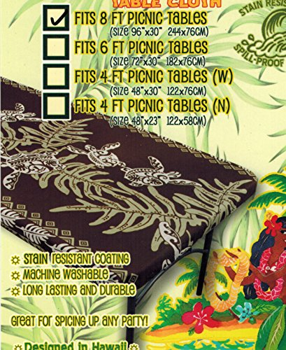Hawaiian Tropical fitted Tablecloth (Fits 8 feet picnic tables 96'' x 30'', spicing up any party) brown by Kauhale Living
