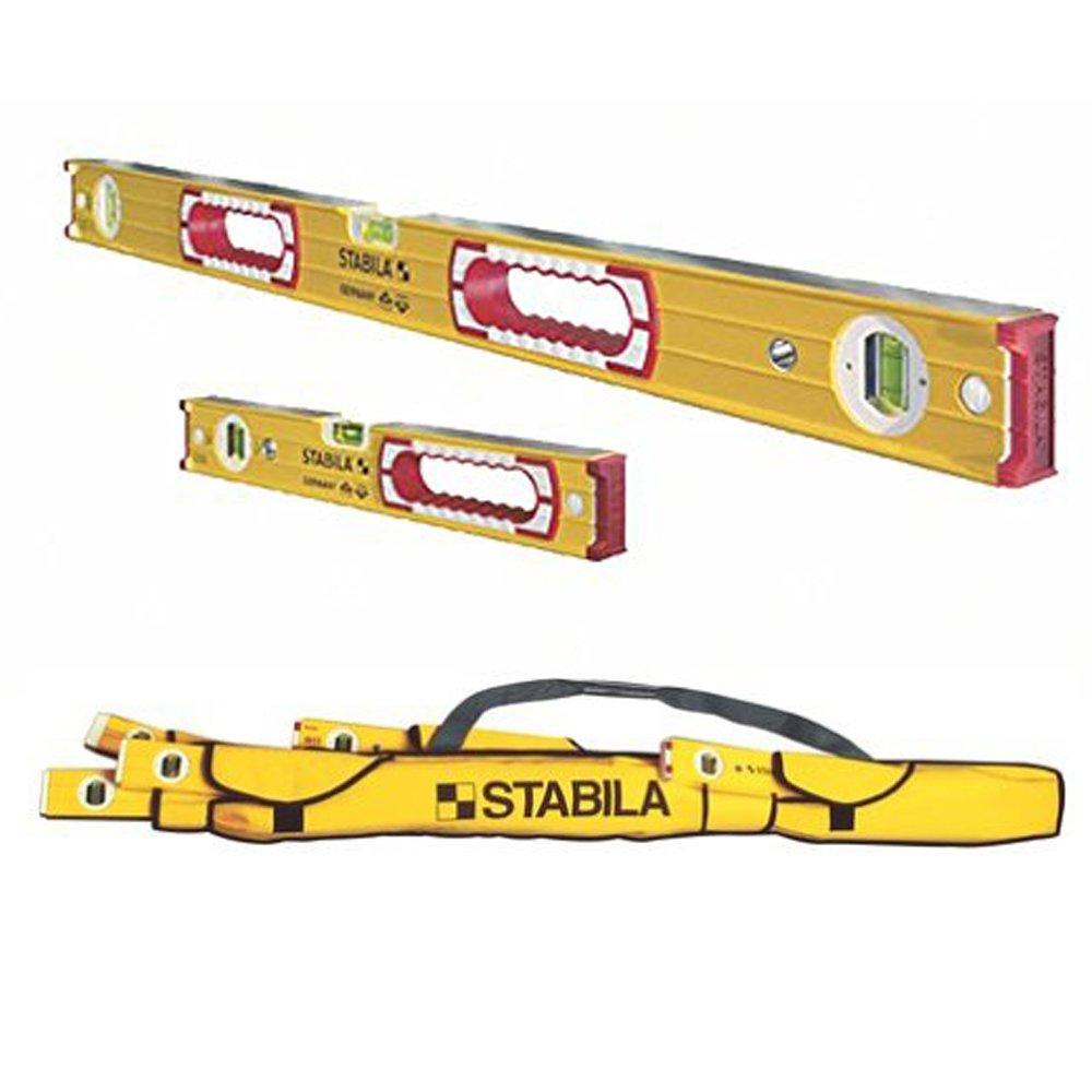 Stabila 37816 Heavy Duty 48-Inch & 16-Inch Type 196 Aluminum Box Beam Level Set w/ 30015 5-Pocket Case