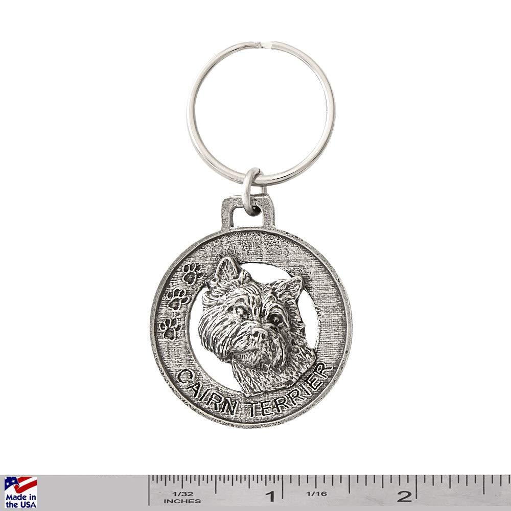 D042KC Cairn Terrier Dog Pewter Key Chain Key Fob Key Ring Gift