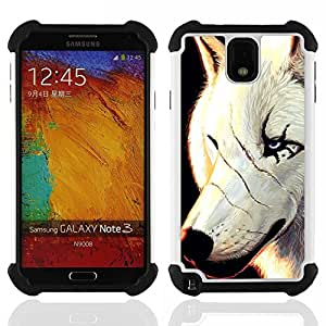 For Samsung Galaxy Note3 N9000 N9008V N9009 - White Wolf Scars Face Scarface Blue Eyes /[Hybrid 3 en 1 Impacto resistente a prueba de golpes de protecci????n] de silicona y pl????stico Def/ - Super Marle