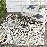 Safavieh Veranda Collection VER091-0612 Indoor/ Outdoor Cream and Blue Contemporary Area Rug (5'3″ x 7'7″) For Sale