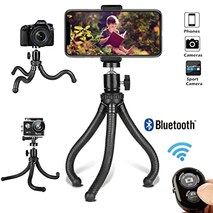 3 in 1 Phone Tripod Stand with Cell Phone Holder Clip for iPhone//Android Phone Camera//Phone Tripod,Patekfly 12 Inch Flexible Camera Tripod for GoPro//Canon//Nikon//Sony DSLR Cam//Gopro Action Cam