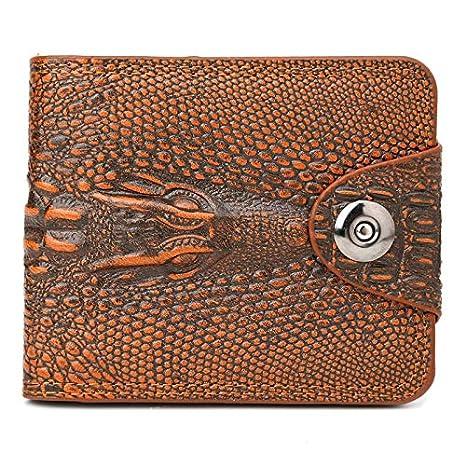 JAGENIE - Cartera de Lujo para Hombre con diseño de cocodrilo en 3D, Piel sintética, marrón Claro, 12x10x2cm: Amazon.es: Hogar