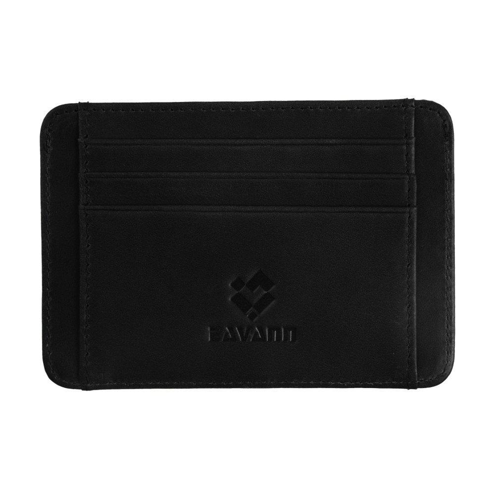 Eavann RFID Blocking Slim Minimalist Genuine Leather Front Pocket Wallet (Charcoal Black)