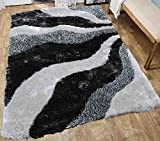 Shag Shaggy Fuzzy Fluffy Furry Soft Modern Contemporary Decorative Thick Plush Soft Pile Living Room Bedroom Area Rug Carpet 5×7 Gray Grey Two Tone Color Sale Cheap Discount ( New L3 Gray Grey )