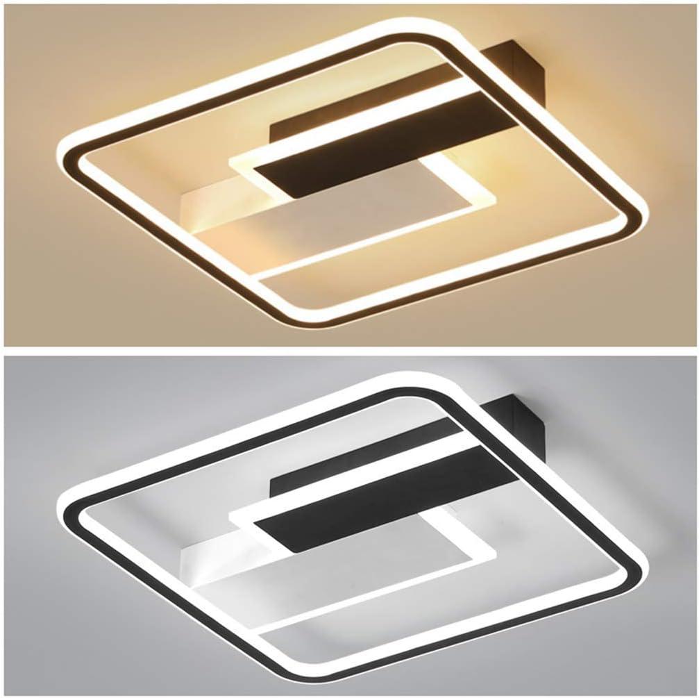 80W ZXM Plafonnier Moderne /À LED Rectangulaire avec T/él/écommande 3000-6000K Plafonniers Dimmables Design Cr/éatif pour Plafonnier De Cuisine De Salon Suspendu Noir Et Blanc,50/×50CM