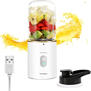 Mini Blender, Portable Blender USB Rechargeable, Personal Blender for Shakes and Smoothies with 12oz Small Blender Cup, Travel Lid, 2000 mAh (White)
