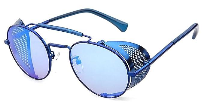 0feaff18991 Flowertree STY056 Metal Frame Mesh Fold-in Side Shield Round 52mm Sunglasses  (C4-
