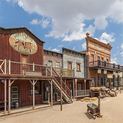 LFEEY 10x10ft Western Photo Booth Backdrop Blue Sky Wild West Farm Barn House Cowboy Pony Express Wooden Building Doorway Hay Bales Haymow Haystack Photography Background Studio Prop -