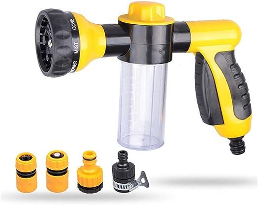 Pulverizador de espuma para automóviles Cañón Lavadora de alta presión Pistola de agua, Boquilla de manguera de jardín - Boquilla de rociado manual, 8 Patrones de riego ajustables: Amazon.es: Jardín