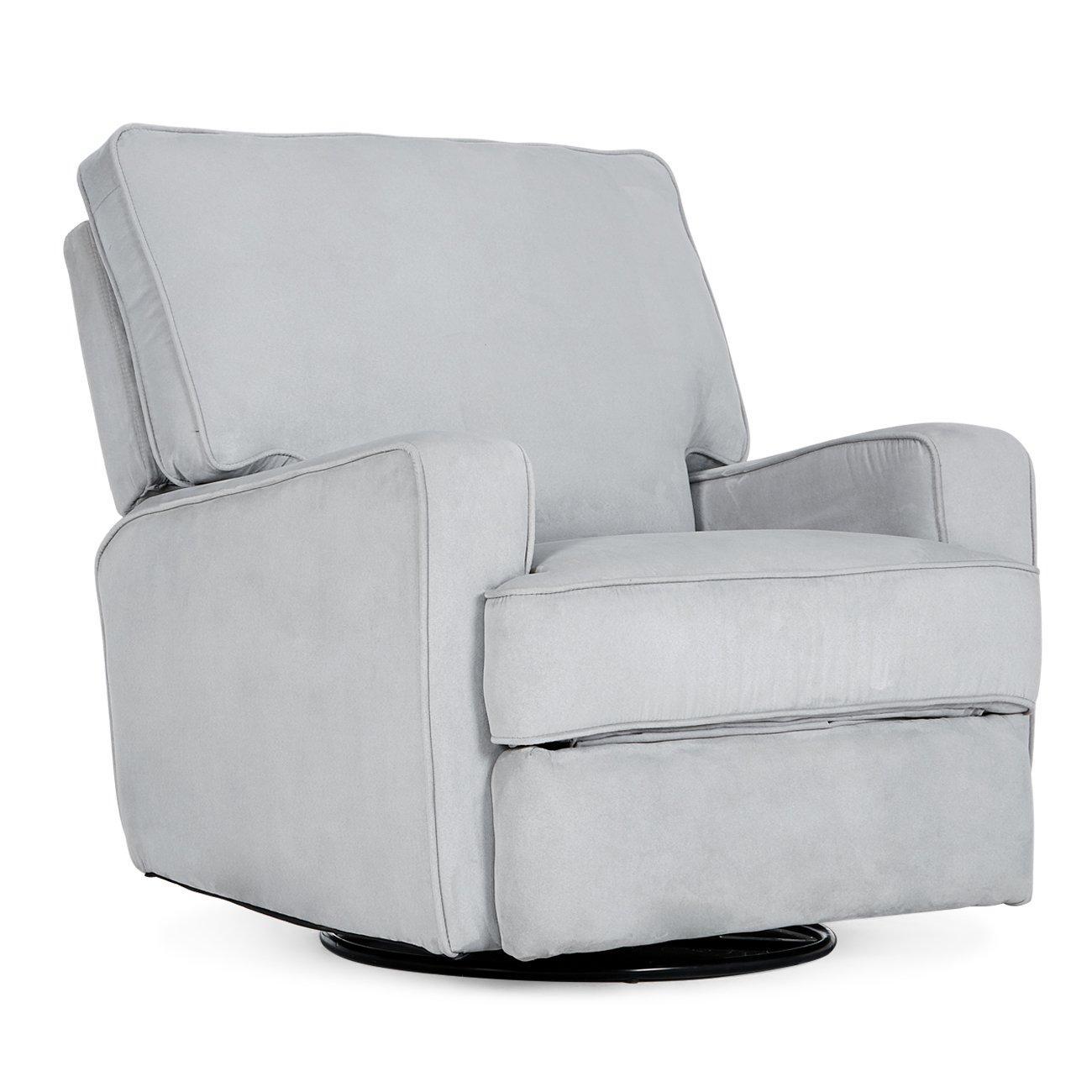 Amazon com belleze recliner chair padded armrest backrest living room swivel reclining chairs comfort footrest linen gray kitchen dining