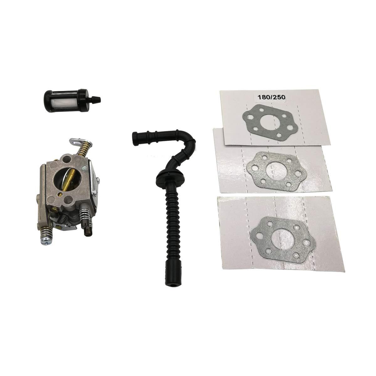 Shioshen Carburador con Kit de Filtro de Tubo de Manguera de Combustible de Junta para STIHL MS250 MS230 MS210 025 023 021 Motosierra