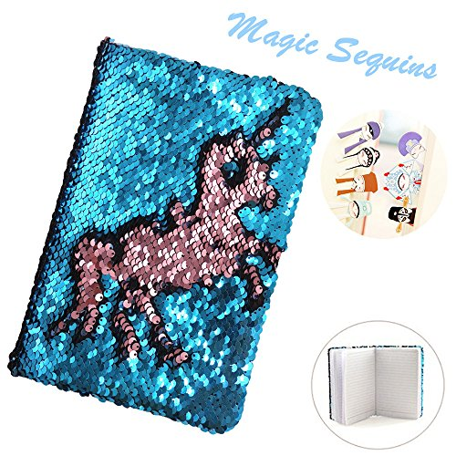 Mermaid Magic Sequin Journal,Two-color Reversible Sequin Diary Notebook with 7 Pieces Chinese Style Bookmark for Kids,Children,Girls,Boys,Adults -