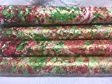 PAINTED PAPERS/Hand-painted/Red/Green/Gold Gift Wrap-1 sheet-26''X 60''