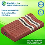 HealthyLine Infrared Memory Foam Pillow 18''x10'' (Firm)|Natural Amethyst, Tourmaline & Obsidian| Neck and Shoulder Support| US FDA Registered