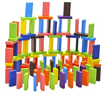 THE VIYU BOX 120 PCS Colorful Wooden Domino Set for Kids / Colourful Wooden Dominos Toy