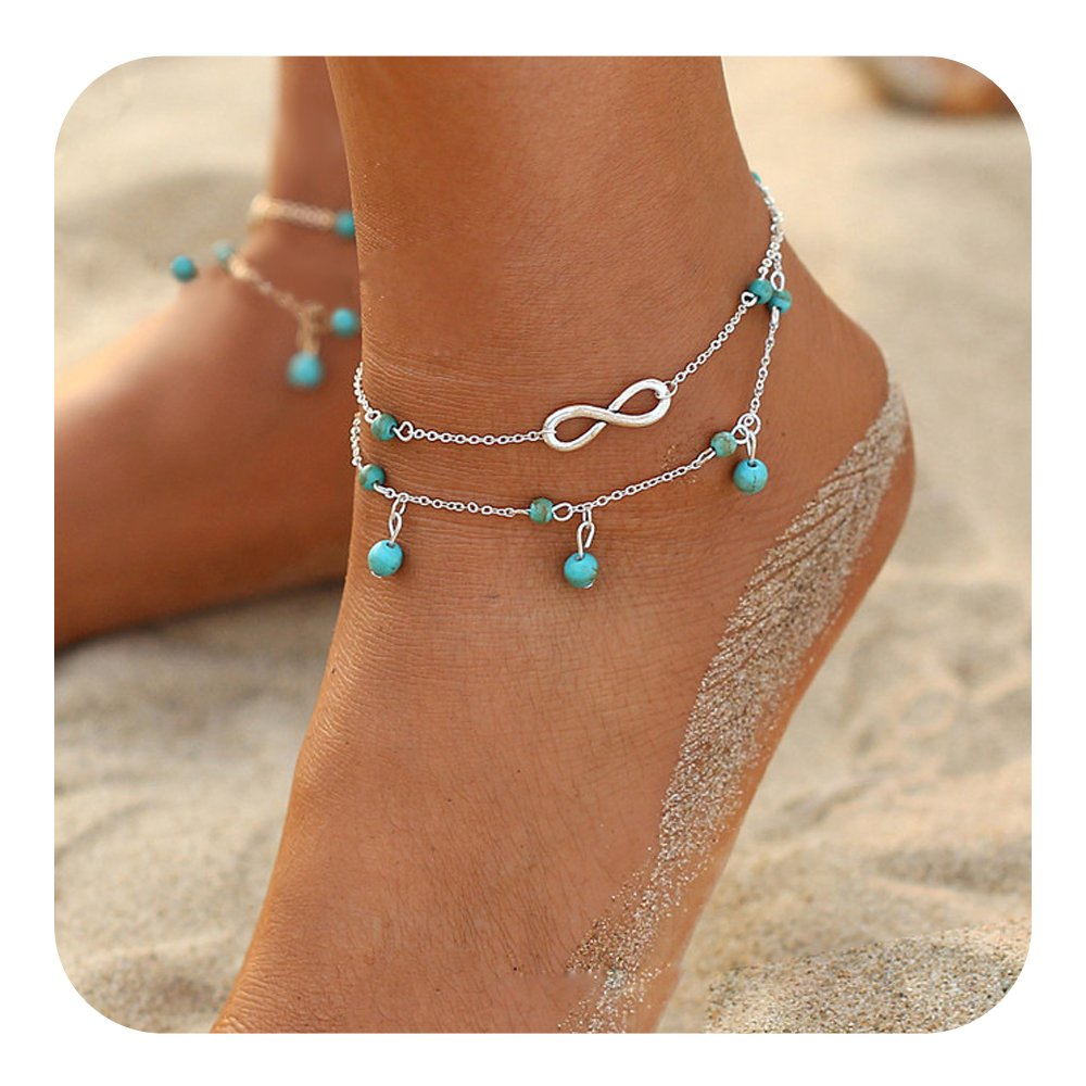 Feelontop® 1pc Multi Layer Gold Silver Chain with Blue Beads Beach Barefoot Anklet with Jewelry Pouch BR-5928-silver
