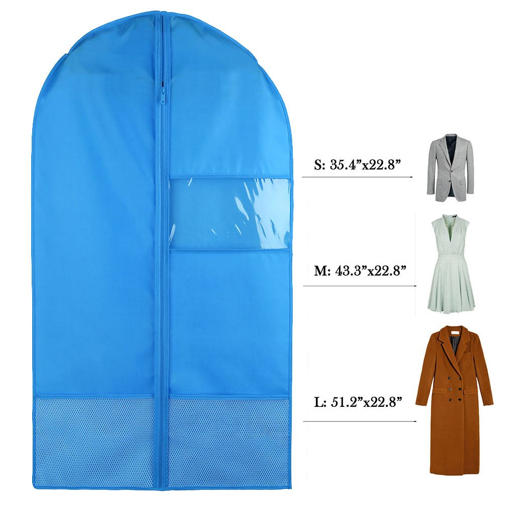 Favorest Breathable Dust-Proof Garment Bag with Clear Window and 2 Mesh Pockets, 49''x22.8'' Anti-Moth Durable Oxford Cloth Suit Covers with Zipper for Suit, Dresses, Linens, Storage or Travel(L, Blue)