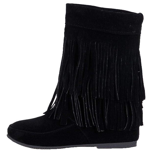 c2802e7b21c46 Artfaerie Womens Flat Fringe Tassel Short Boots Slip On Increase ...