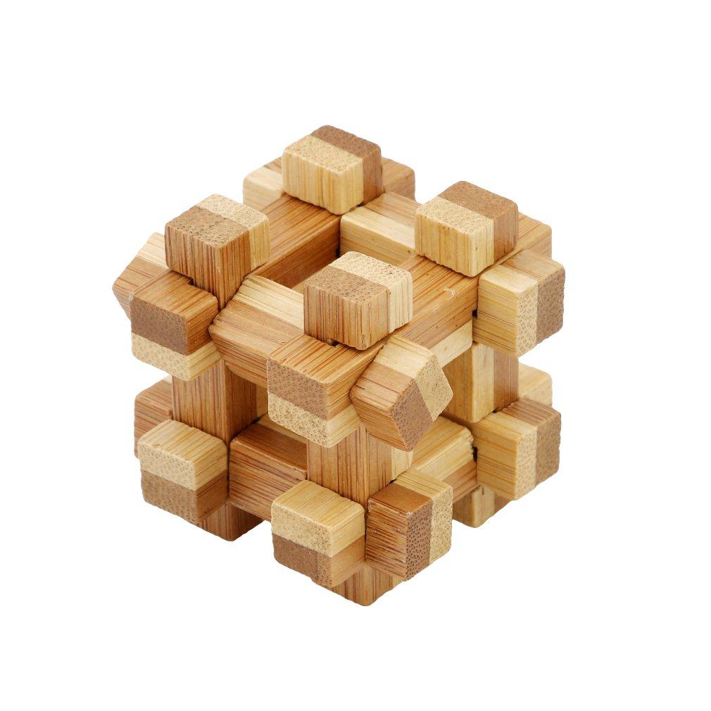 LALANG 3D Wooden Cube Brain Teaser Puzzle