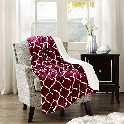Microfleece Throw (Comfort Spaces - Plush to Sherpa Blanket Throw - 50x60 inches - Ogee - Cranberry)