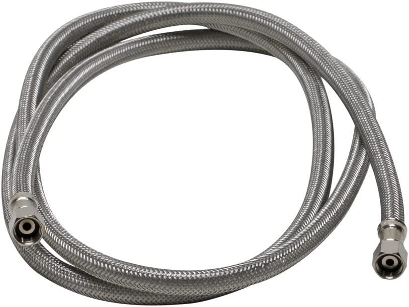 Fluidmaster 12IM84 Ice Maker Connector, Braided Stainless Steel - 1/4 Compression Thread x 1/4 Compression Thread, 7 Ft. (84-Inch) Length
