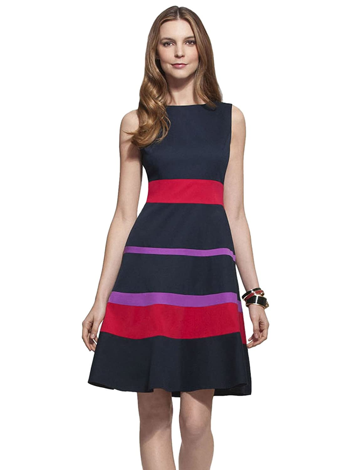 YACUN Women Splice Stripe Color Block Casual Party Fit and Flare Dress