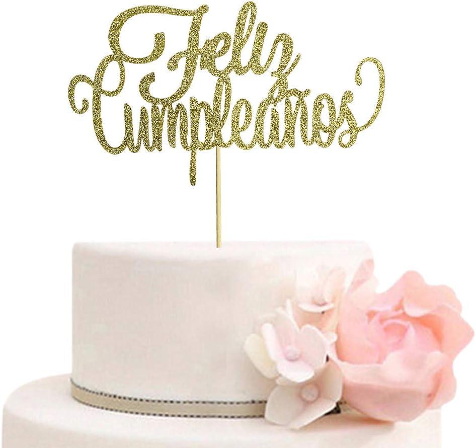 Feliz Cumpleaños Cake Topper - Spanish Happy Birthday Party Decorations - Fiesta Birthday Cake Decors - Gold Glitter