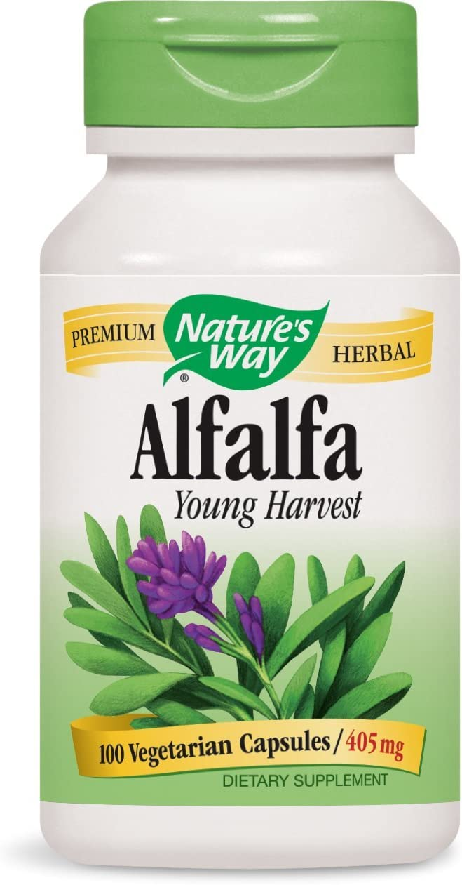 Nature s Way Alfalfa Leaves, 1,215 mg, 100 Vegetarian Capsules, Pack of 2