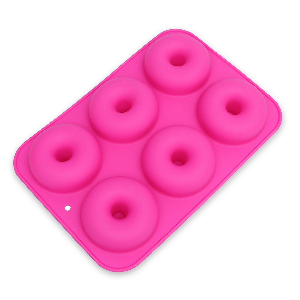 OUNONA 6-Cavity Silicone Donut Mold, Non-Stick Donut Baking Pan for Cake Biscuit Bagels Muffins (Rose Red)