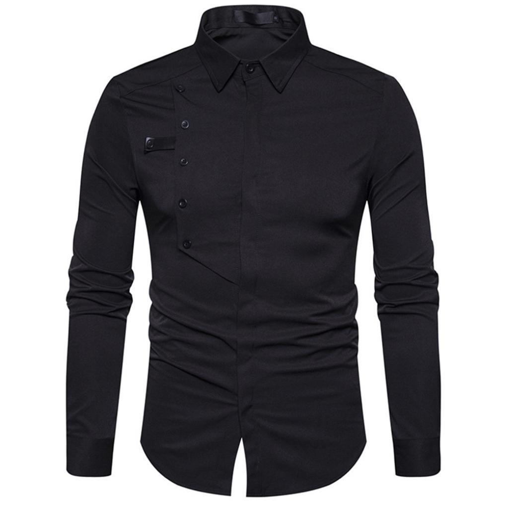 iLXHD Autumn Mens Casual Long Sleeve Cotton Formal Slim Dress Shirt Top Blouse