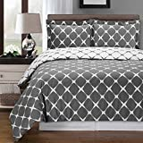 Gray and White Bloomingdale 3-PC King / Cal-King Duvet Cover Set, 100% Cotton 300 TC