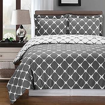 gray and white 3pc full queen duvet cover set 100