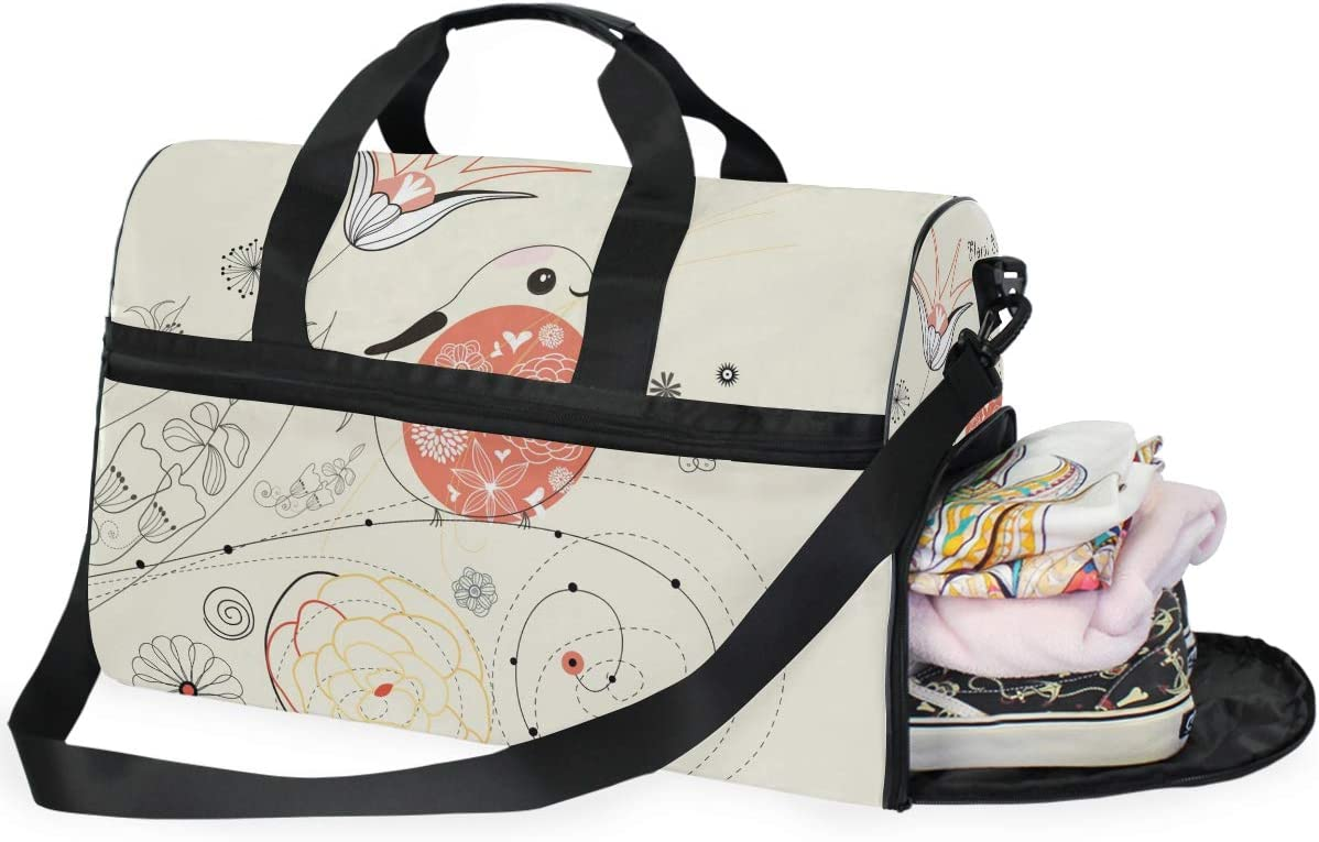 Travel Duffels Floral Background Duffle Bag Luggage Sports Gym for Women /& Men