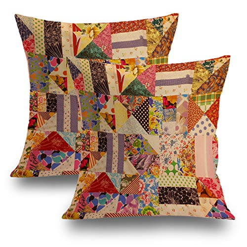 Retro Decorative Pillow Covers 18x18 Set of 2, Square Multi Colored Patchwork Pattern Cushion Case for Sofa Bedroom Car Throw Pillow Covers Cushion Cover 45cm x 45cm