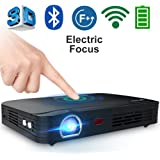 "WOWOTO T8E 2000 Lumens Multimedia Home Theater Projector Support 1080P Max 300"" DLP 3D Video Projector Built in Battery 7800mAh Portable Projector for Movie Night with Android System"