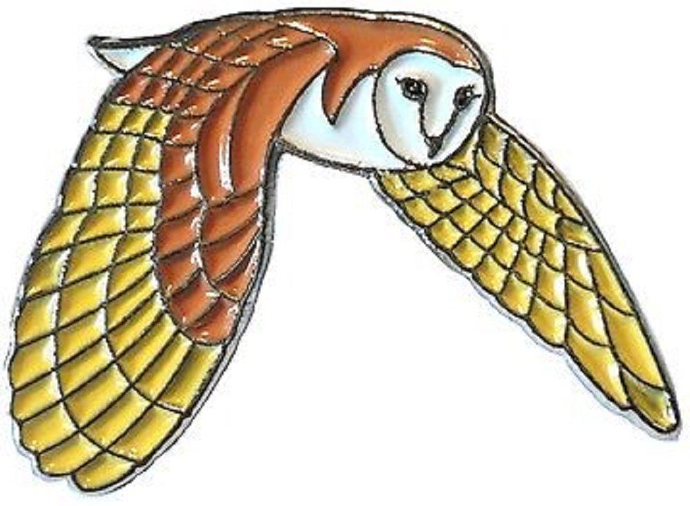 Ornithology en métal émaillé Motif chouette effraie en vol Mainly Metal