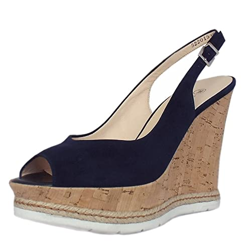 b76bea4074b Peter Kaiser Regine Summer High Wedge Platform Sandals in Notte Suede 4  Notte Suede
