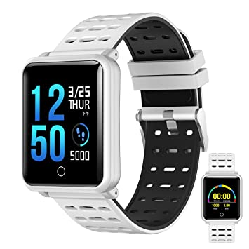 OOLIFENG Fitness Tracker, Reloj Inteligente IP68 Impermeable Correr Reloj Con Pulsómetros, Deporte Podómetro Para Ios Y Android,White: Amazon.es: Deportes y ...