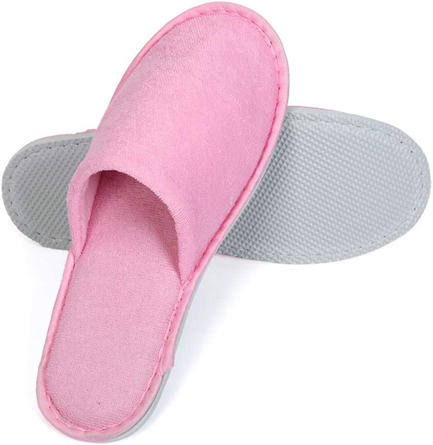 Disposable Closed Toe Slippers Adults' Terry Cloth Thick Non-Slip Hotel Slippers for Women and Men