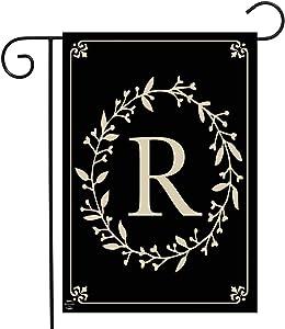 "Briarwood Lane Classic Monogram Letter R Garden Flag Everyday 12.5"" x 18"""