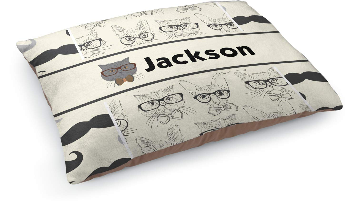 YouCustomizeIt Hipster Cats & Mustache Dog Bed (Personalized)