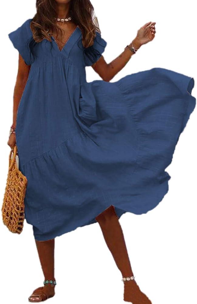 Mujeres Verano Algodón Lino Vestido Cuello Volantes Swing Boho Vestidos Azul Marino S: Amazon.es: Ropa y accesorios