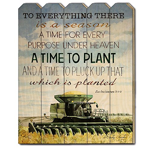 Trendy Decor4U Time to Plant by Cindy Jacobs, Printed Wall Art on a Wood Picket Fence, (Picket Fence Wall Decor)