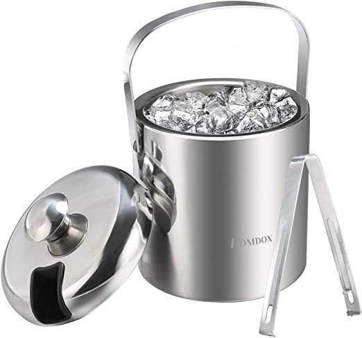 Homdox Ice Bucket Stainless Steel Ice Buckets with Tongs,Double Wall Insulated ice bucket,Wine Ice Buckets for Paties and Bar,Outdoor Camping Silver ...