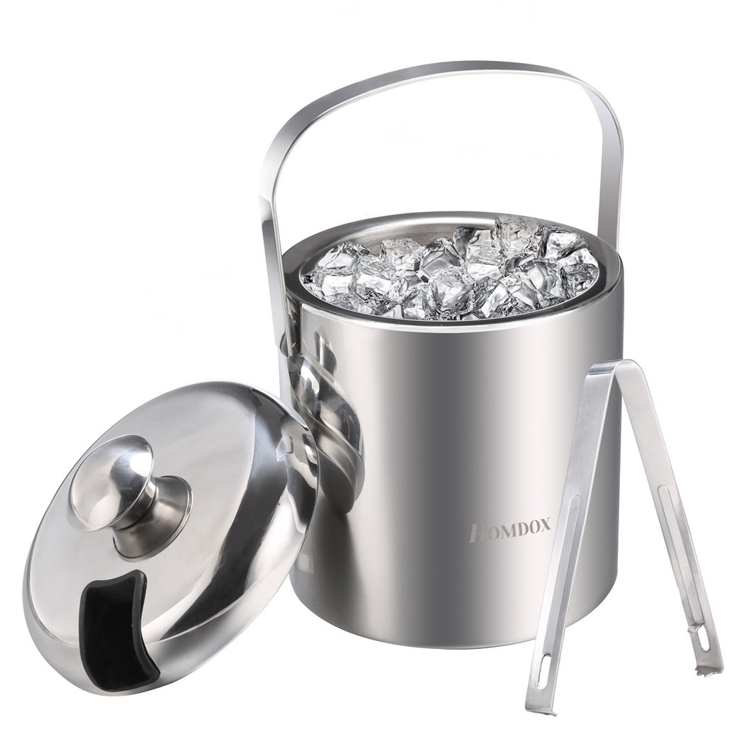 Homdox Ice Buckets Stainless Steel Ice Bucket with Tongs,Double Wall Insulated ice bucket,Wine Ice Buckets for Paties and Bar,Outdoor Camping Silver Ice Buckets with Lid