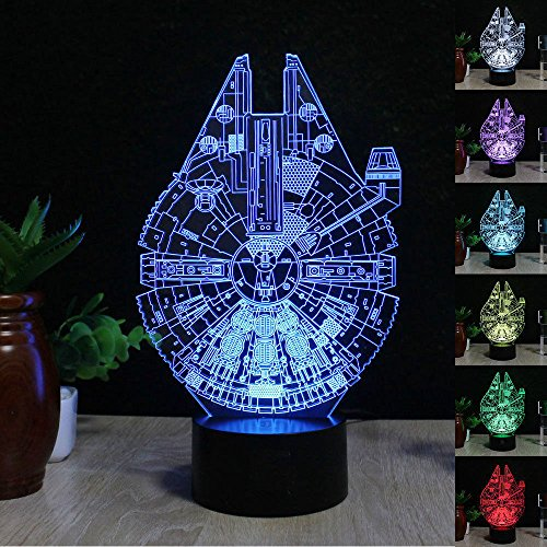 [Easyinsmile 3D LED Night Light Star Wars Millennium Falcon Lamp room home decoration gifts Multi 7 Color Charge Button LED Desk Table Light Lamp Bedroom] (Star Wars Items)