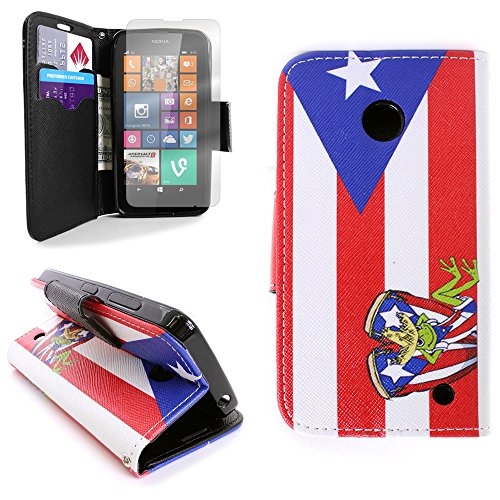 Nokia Lumia 635 Case Pouch and Clear Screen Protector, Fashion Design (Puerto Rico Flag) CoverON Protective Wallet Carrying Phone Cover for Nokia Lumia 635 (Boost Mobile Lumia 635 Phone)