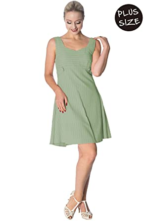 Banned Make a Wish Tabs Plus Size Vintage Retro Dress - Green Green/UK-