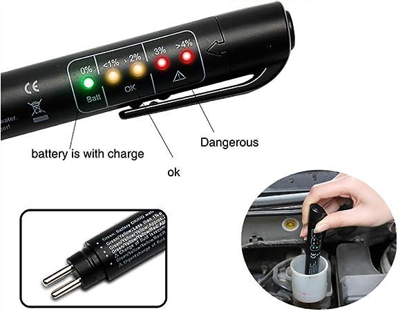 Ourleeme Bremsflüssigkeit Bremsflüssigkeitsprüfer Tester Detektor 5 Led Auto Diagnostic Bremsen Prüfstift Tragbare Fahrzeug Auto Brake Tester Für Dot3 Dot4 Auto